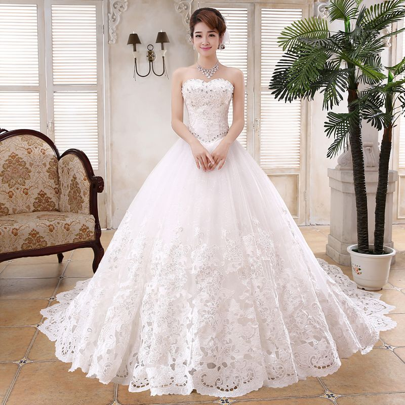 2017 New Arrival Ivory Long Tulle Bridal Gowns Dress Train Lace Wedding