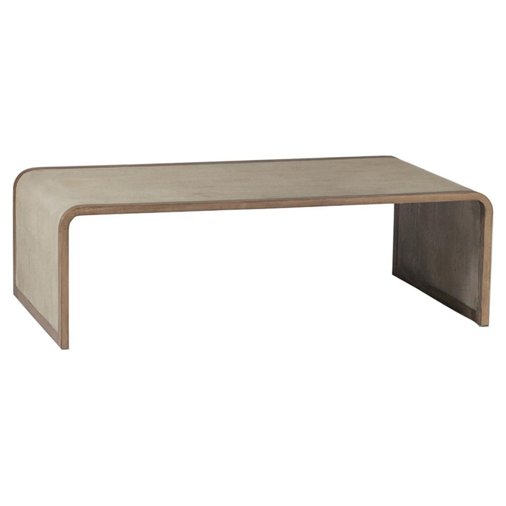 Beau Mattie Modern Tan Faux Shagreen Waterfall Coffee Table | Kathy Kuo Home