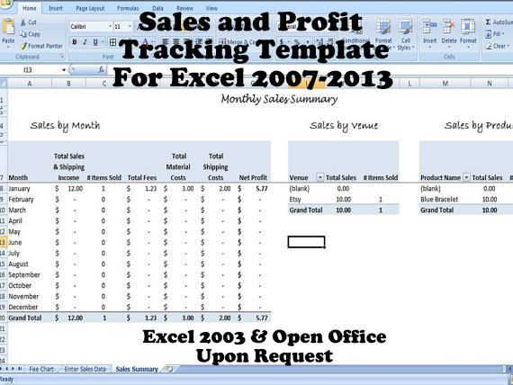 Profit Tracker Sales Tracking Template  For Multiple Venues