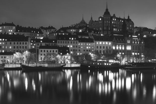 Lights in Stockholm - b/w - Tapetit / tapetti - Photowall