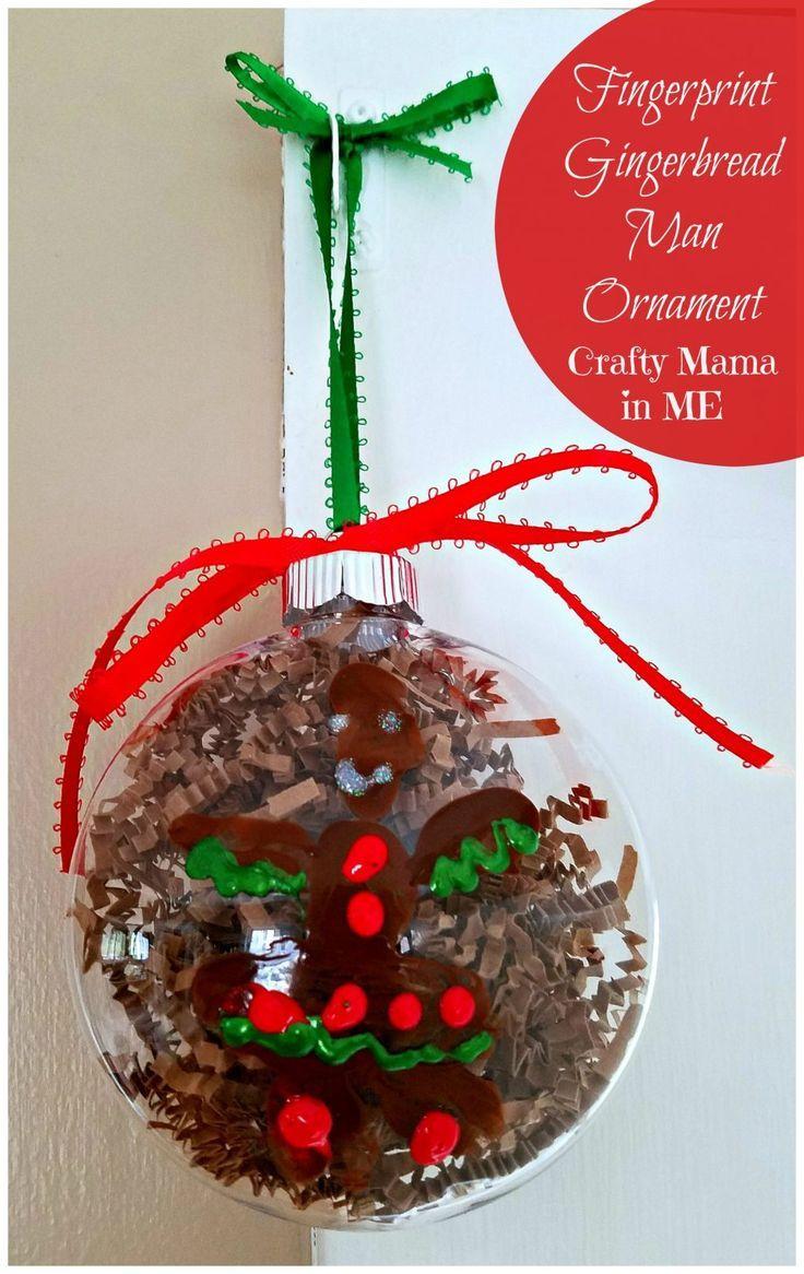 How To Make Fingerprint Gingerbread Man Ornaments Crafty Mama In Me Kids Christmas Ornaments Kids Make Christmas Ornaments Christmas Ornaments To Make