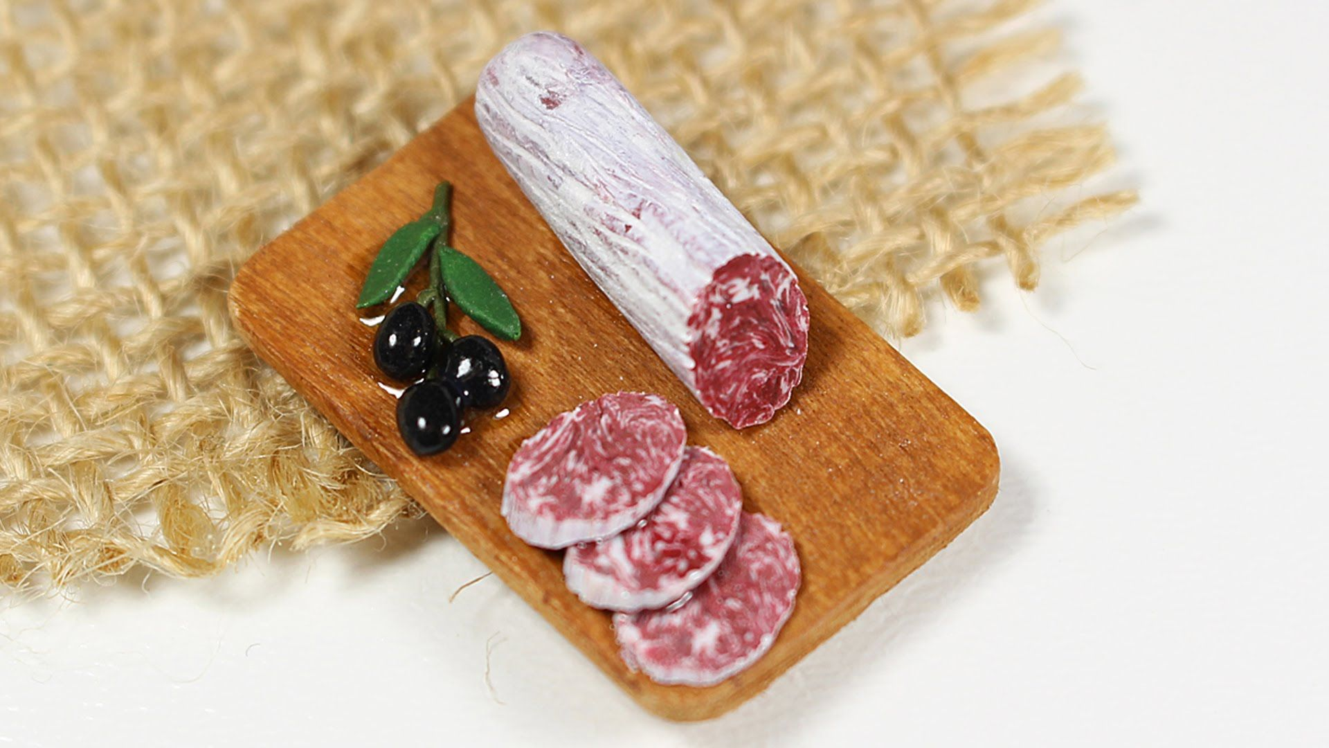 miniature salami on board TUTORIAL (polymer clay)