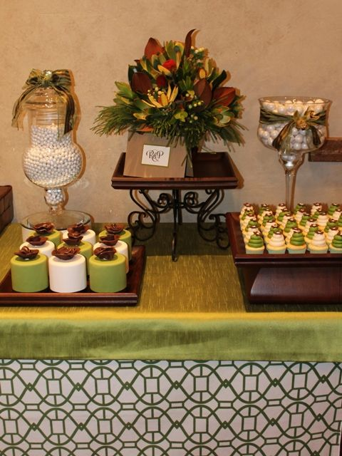 Brown, Green and white dessert table. www.sugarplumit.com  http://www.facebook.com/pages/Sugar-Plum-Designs/158619734205551