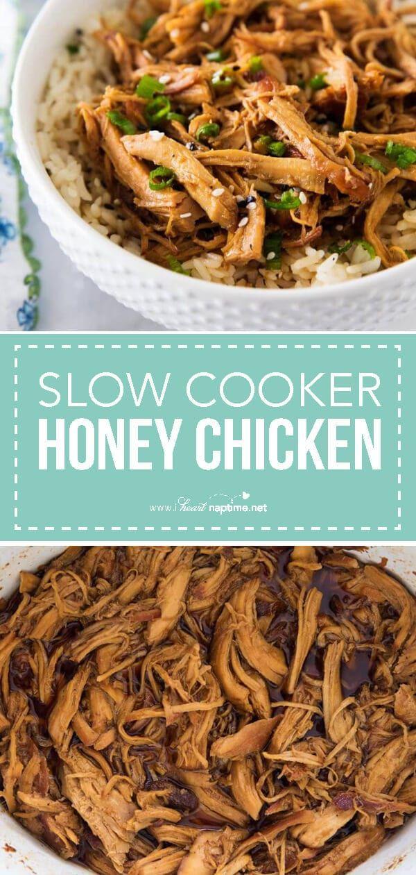 EASY Crockpot Honey Garlic Chicken - I Heart Naptime #easycrockpotchicken