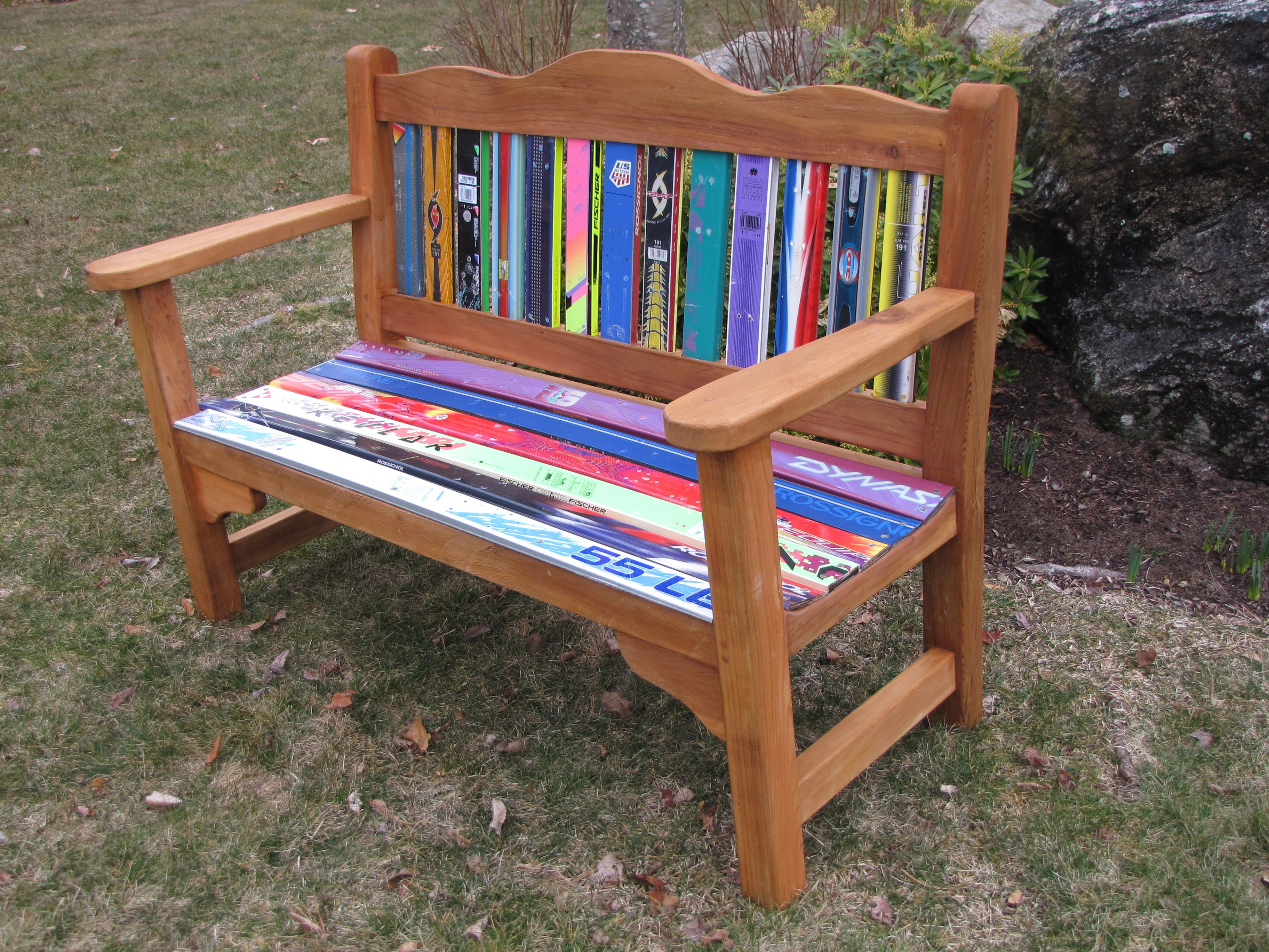 Cly Garden Style Bench Made With Recycled Skis New England Ski Chairs