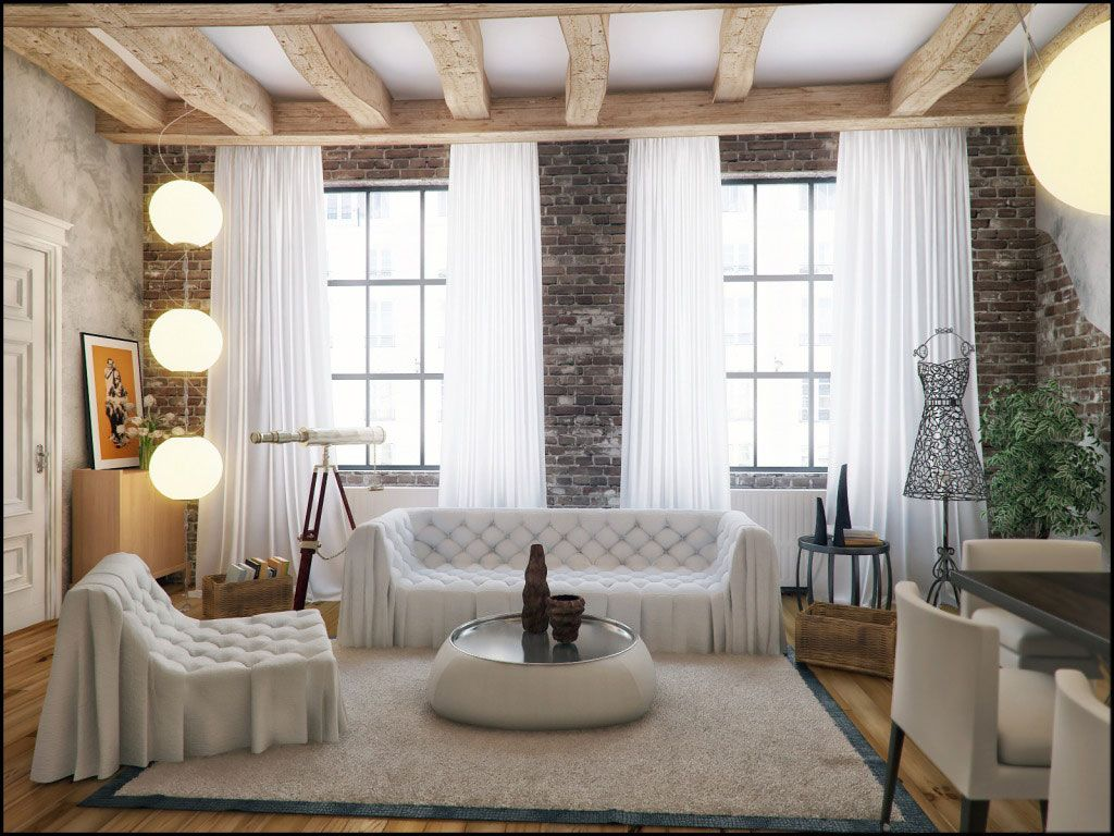 Living Room, Classic Style Designs for the Living Room: Brick Wall ...