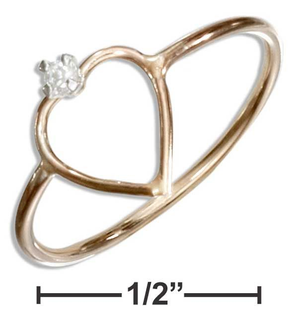 12 Karat Gold Filled Open Heart With Cubic Zirconia Wire Ring
