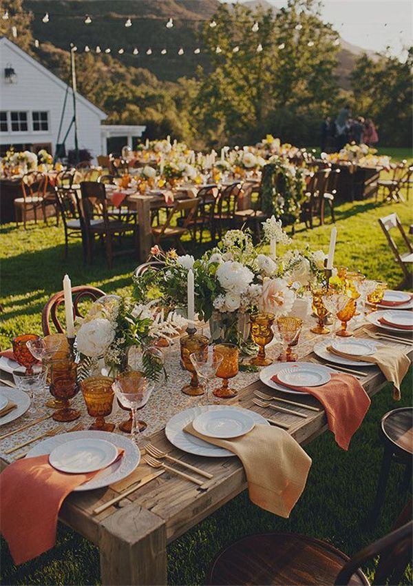 Fall Wedding Tablescape Amber Goblets With The Farm Tables And Gold Utensils