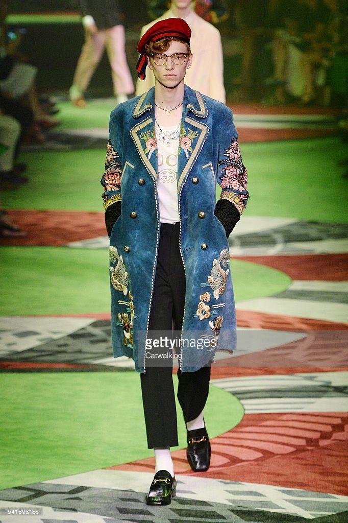 54cdffad347 A model walks the runway at the Gucci Spring Summer 2017 fashion show  during Milan Menswear Fashion Week on June 20