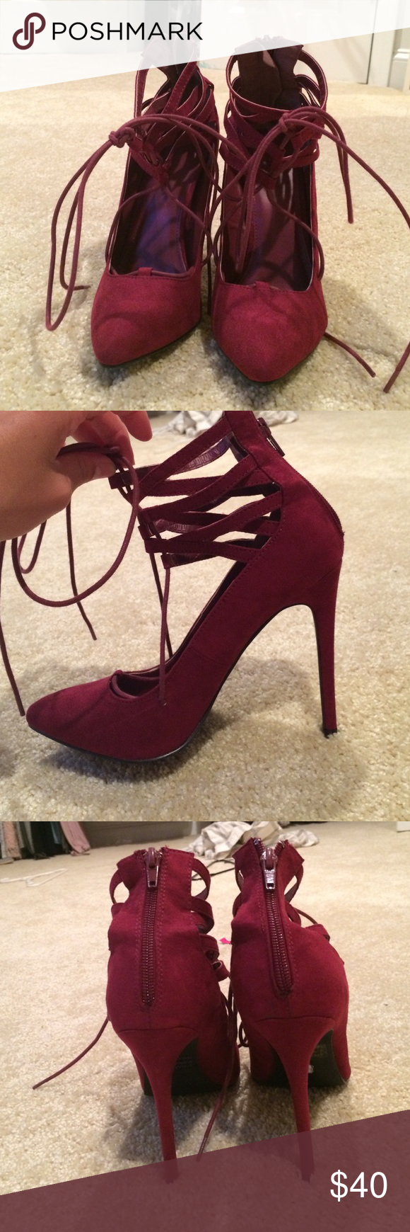 3f584fbde8d Strappy heels Burgundy red wine colored heels with a zipper back for easy  entry and exit. Can be tied in front of the leg(as shown) or behind based on  ...