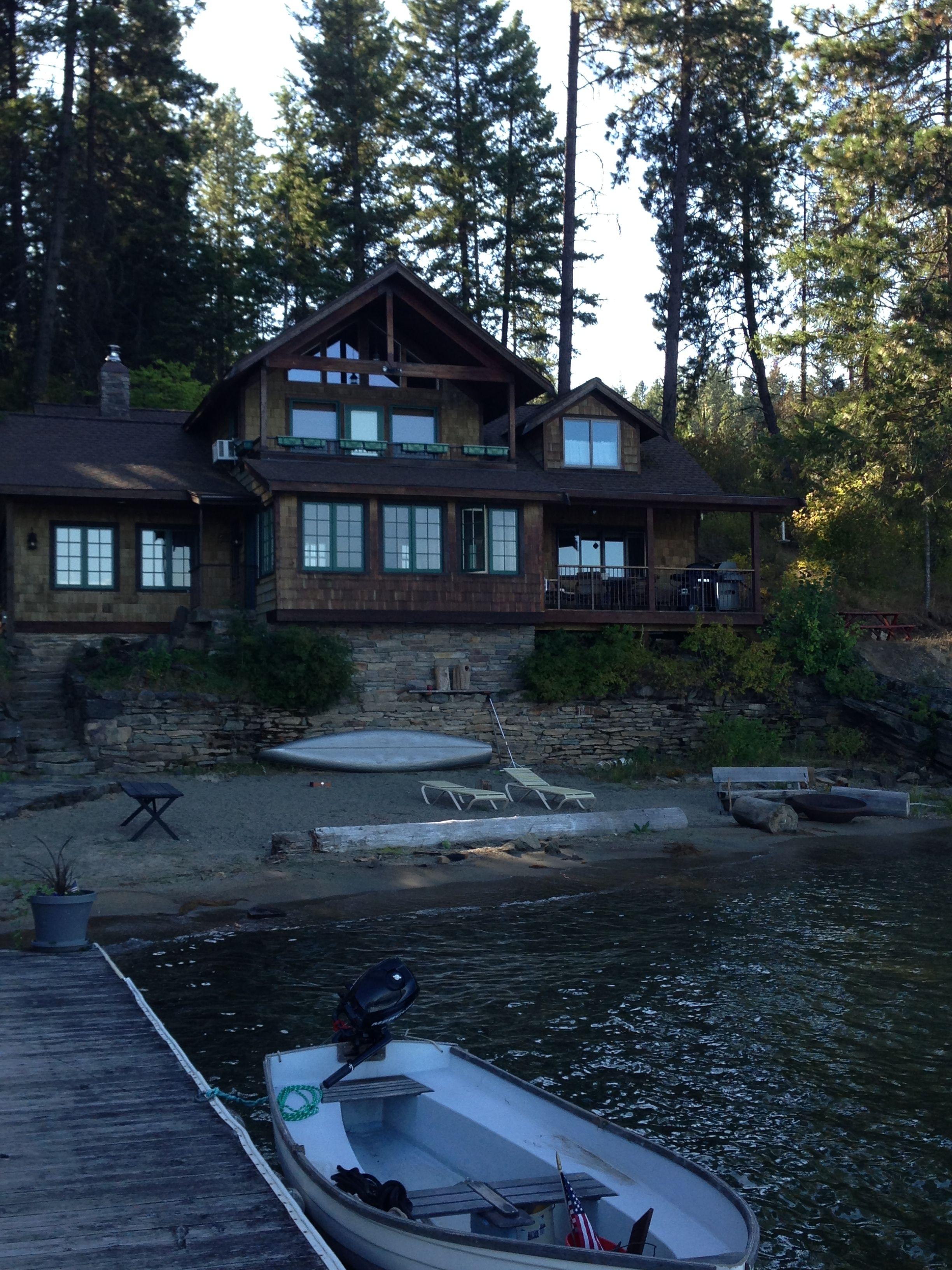 Classic shingled lake house.