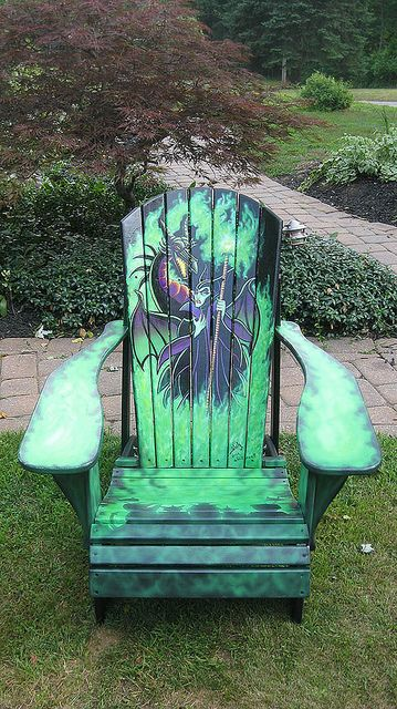 Magnificent and Dragon Painted Adirondack Chair  Funky