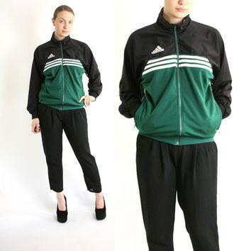 Vintage 80's 90's Adidas Green White Black Stripes Sport Track ...