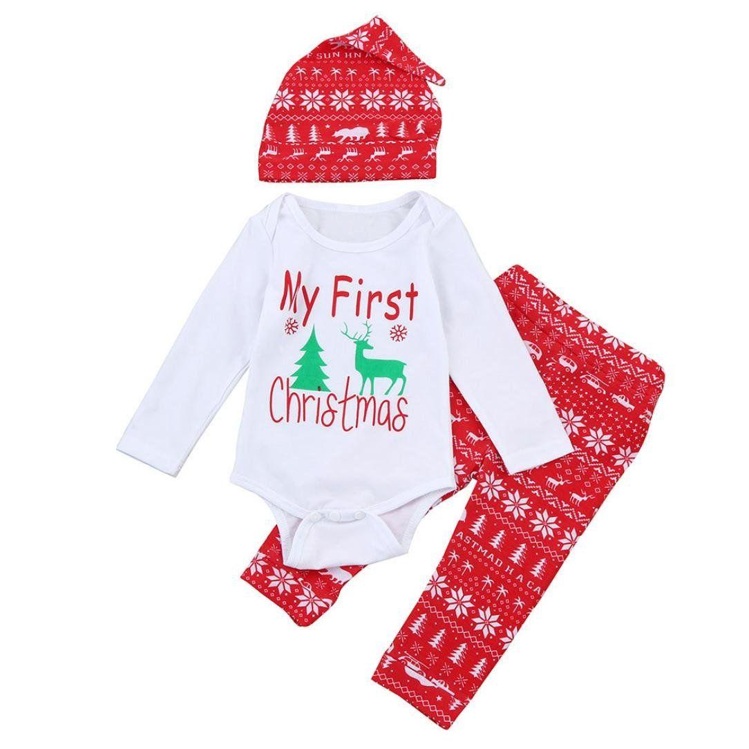0e1829af1 Lavany Christmas Newborn Baby Girls Boys Outfits Elk Romper+Pants+ ...