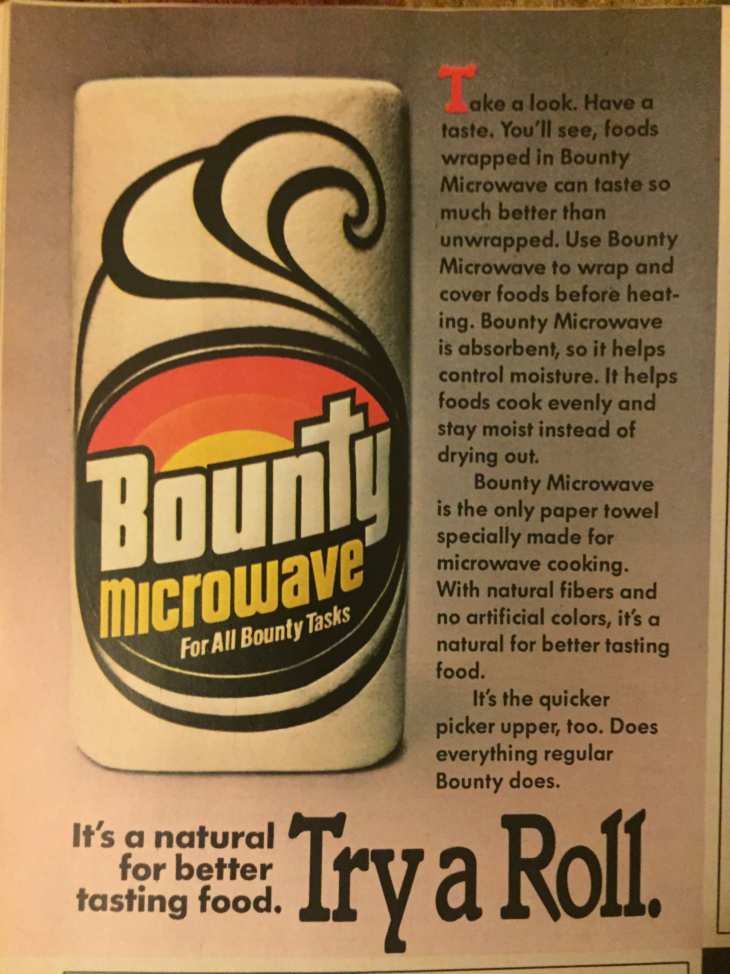 Bounty Microwave Paper Towel Ad From Family Circle Nov 1985 Vintage Advertisements Retro Ads Vintage Ads