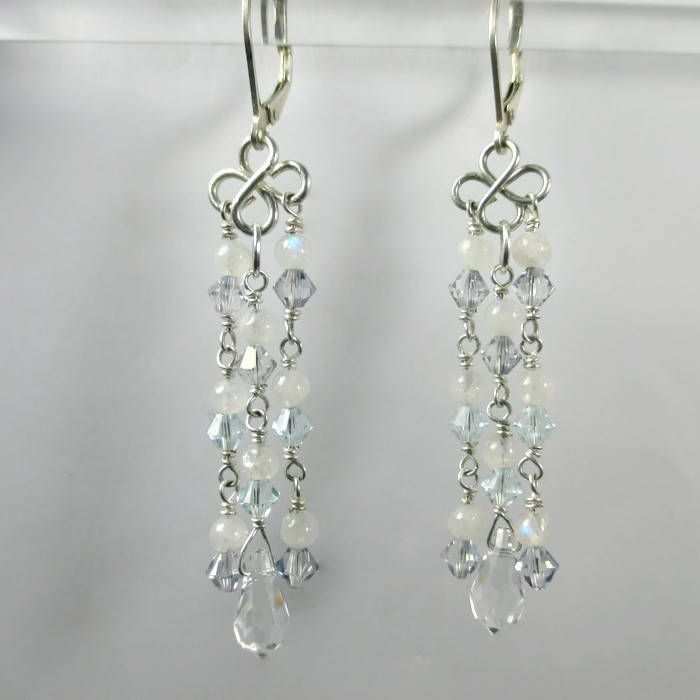 Moonstone Chandelier Earring Swarovski Crystal And Wedding Blue