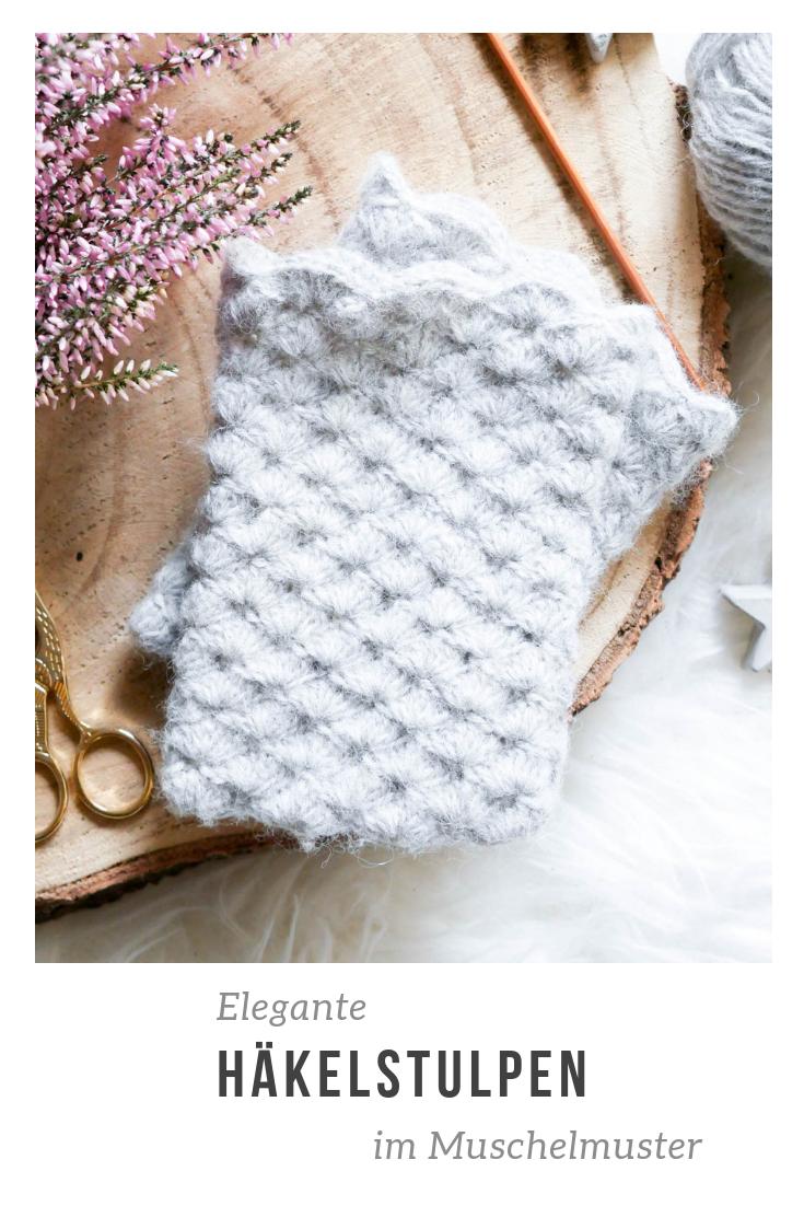 Elegante Stulpen Im Muschelmuster Häkeln Crochet Pinterest