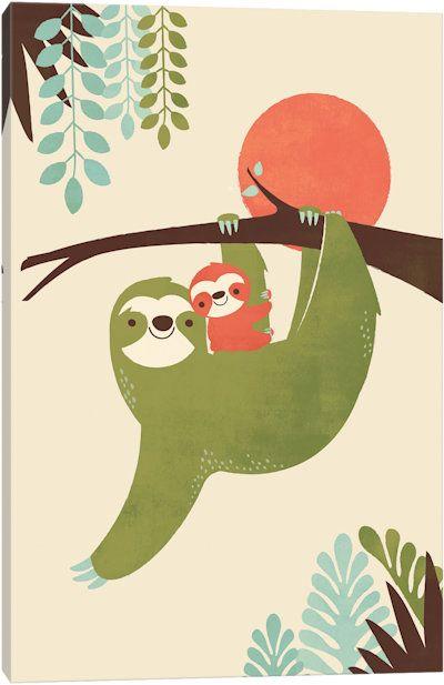 Mama Sloth Canvas Sloth Art East End Prints Sloth Drawing
