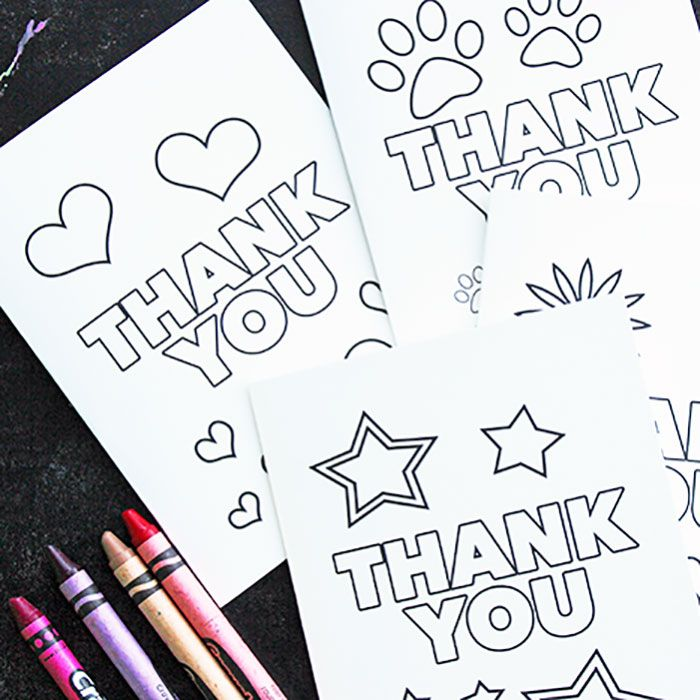 Free Printable Thank You Cards for Kids to Color & Send | crafts for ...