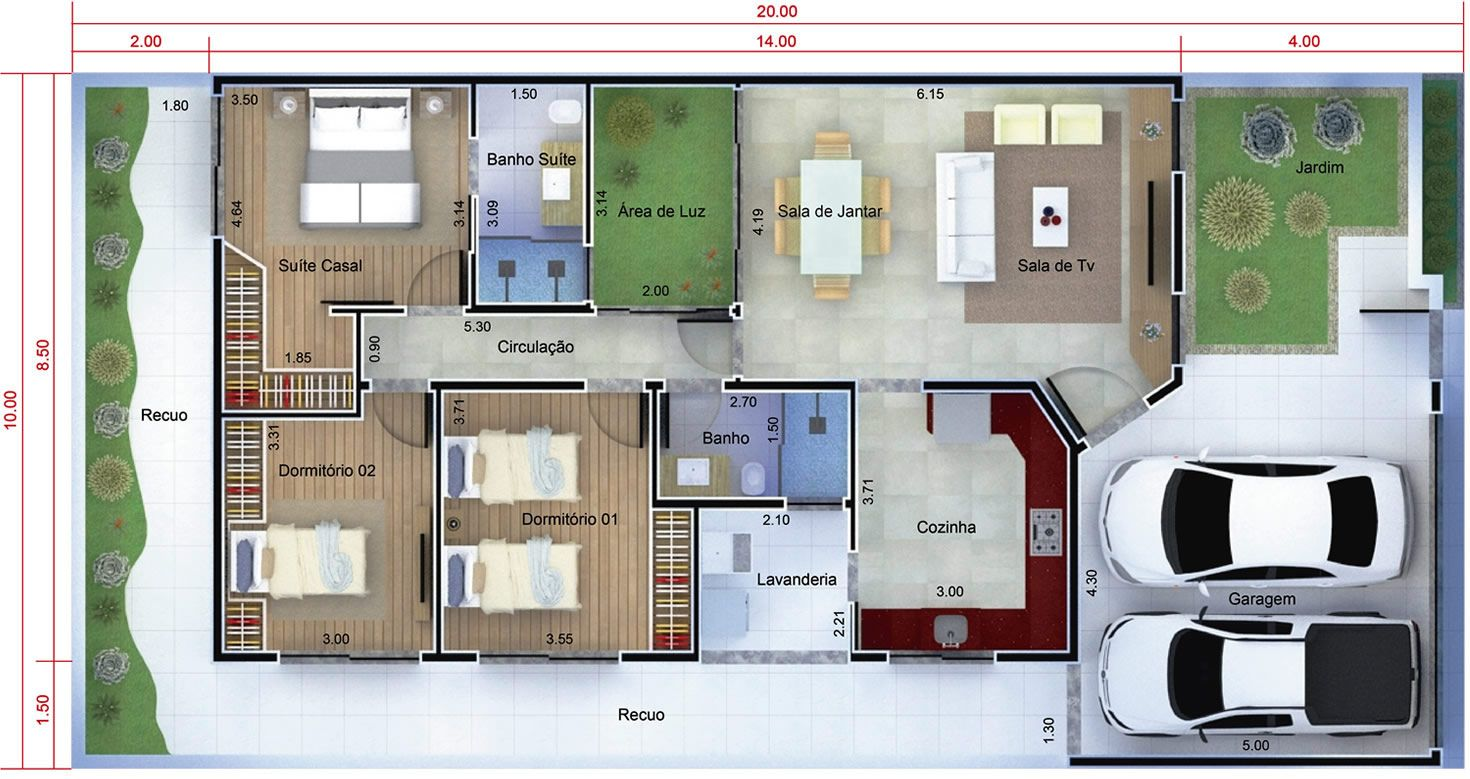 Planta de casa t rrea moderna planta para terreno 10x20 for Casa moderna 7x20