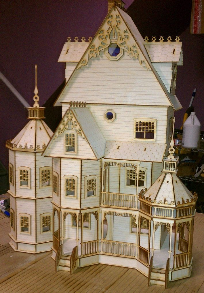 Pic 1 of 2 ashley gothic victorian dollhouse half inch for Victorian style kit homes