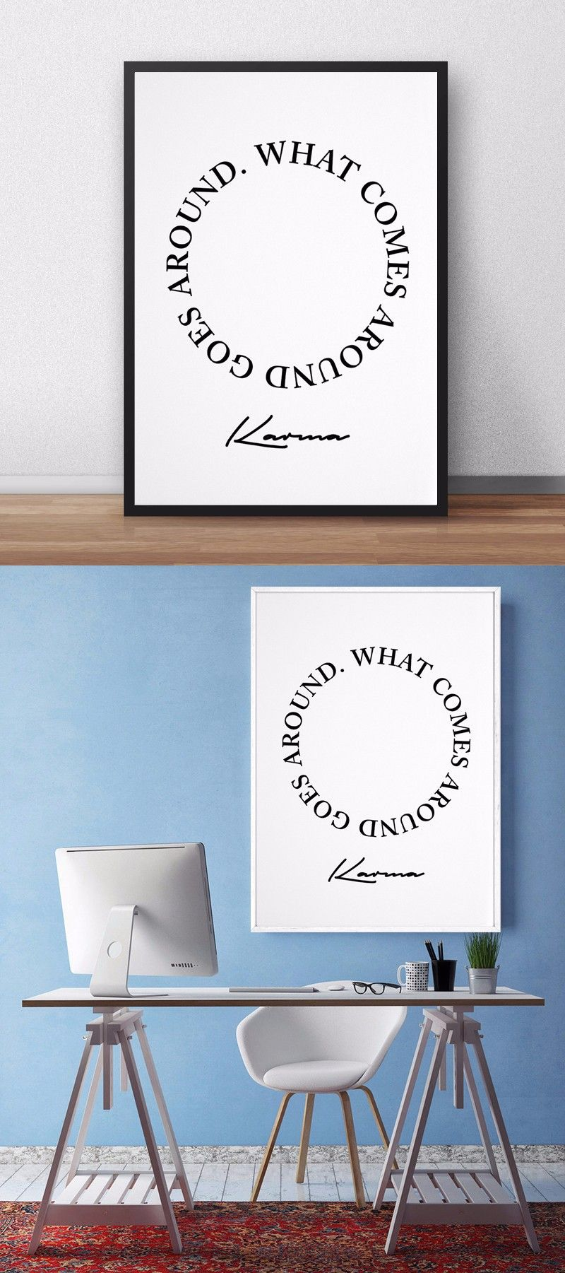 What comes around goes around karma poster canvas wall art