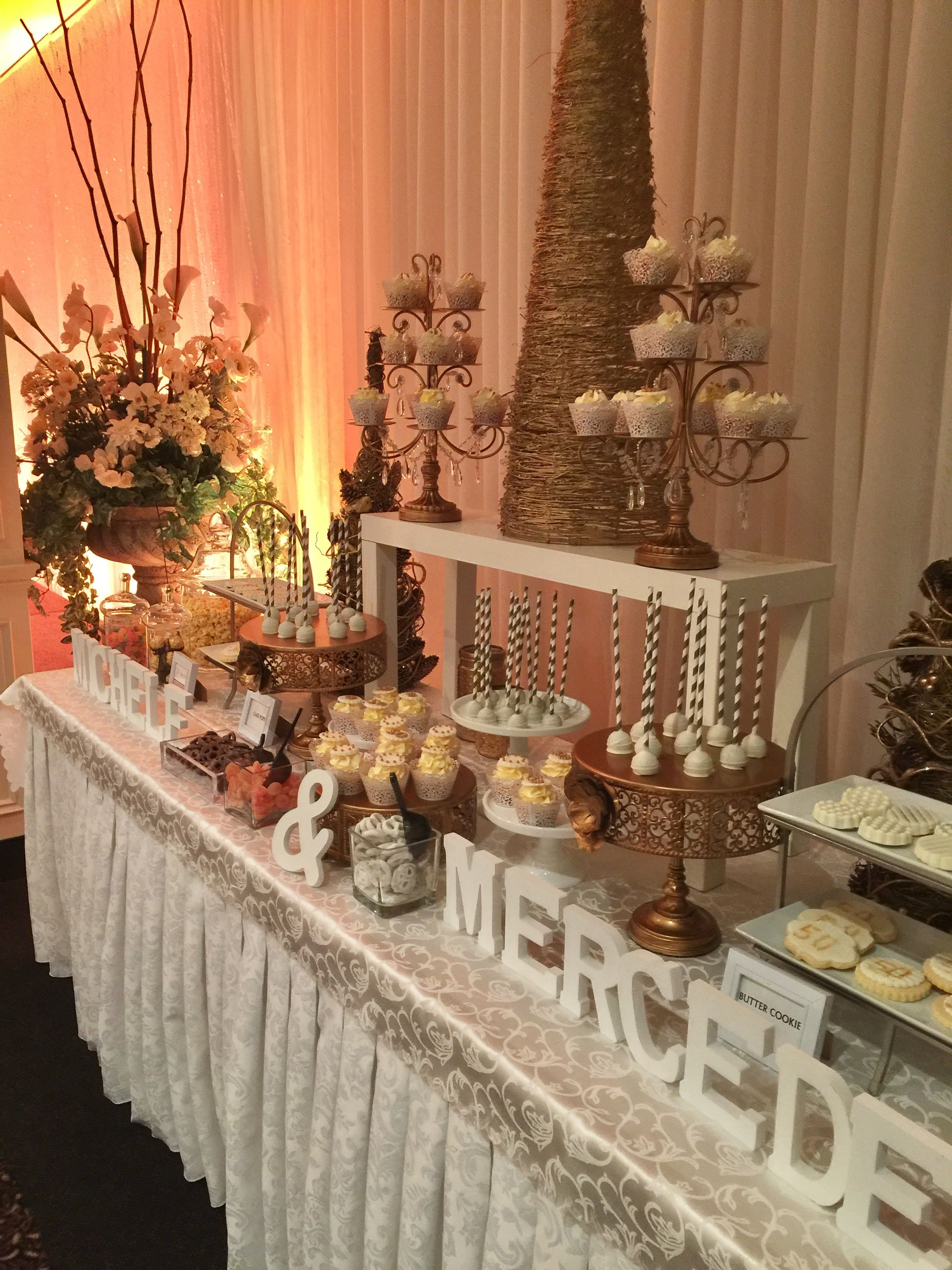 Gold Theme 50th Anniversary Sweet Candy Bar Cupcakes Cake Pops Cookies Candy Cake Table Decorations 50th Wedding Anniversary Table Decorations