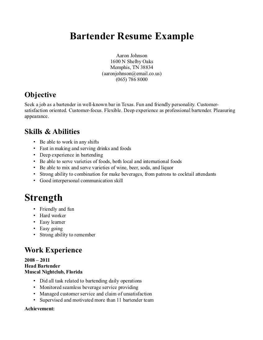 Resume Examples Bartender | Job | Sample resume cover letter, Resume ...