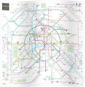 Paris metro map | Poster | Paris metro