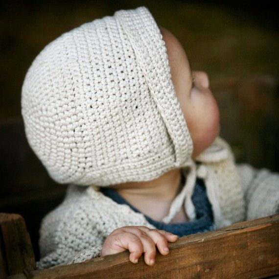 Organic Hand Knit Baby Bonnet - Hat - Eco Friendly - Photo Prop ...