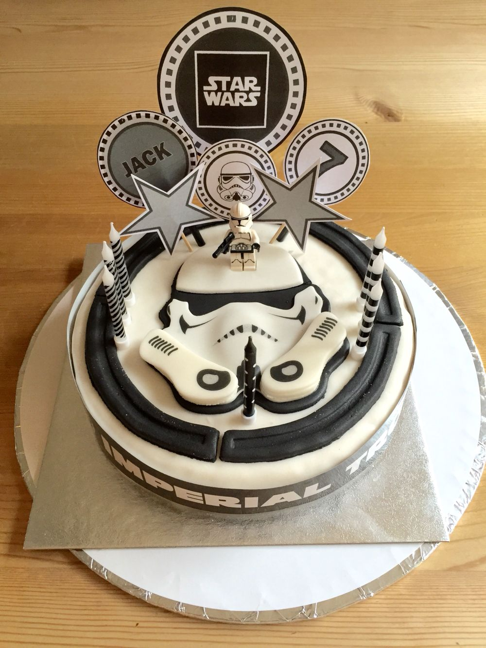 Star Wars Cake From Tesco For 10 Customised By Making Toppers On Publisher Printed Them Out And Attached To Black Straws