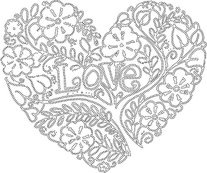 Love Heart Rhinestone Patterns Broderie Strass Dessin border=