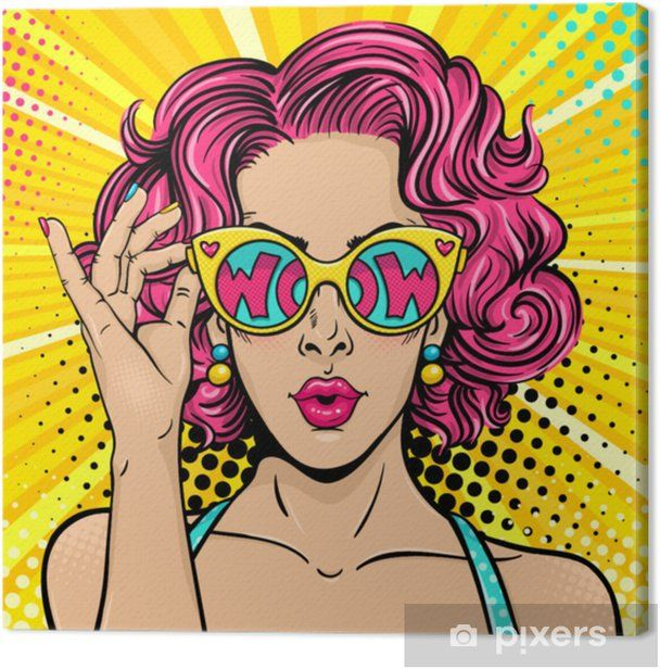 Wow pop art face. Sexy surprised woman with pink curly hair and open mouth holding sunglasses in her hand with inscription wow in reflection. Vector colorful background in pop art retro comic style. Canvas Print • Pixers® – We live to change