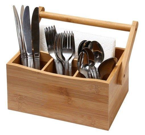 Ybm Home Bamboo Utensil Holder Organizador De Cubiertos Cunas De Madera Repisas De Cocina