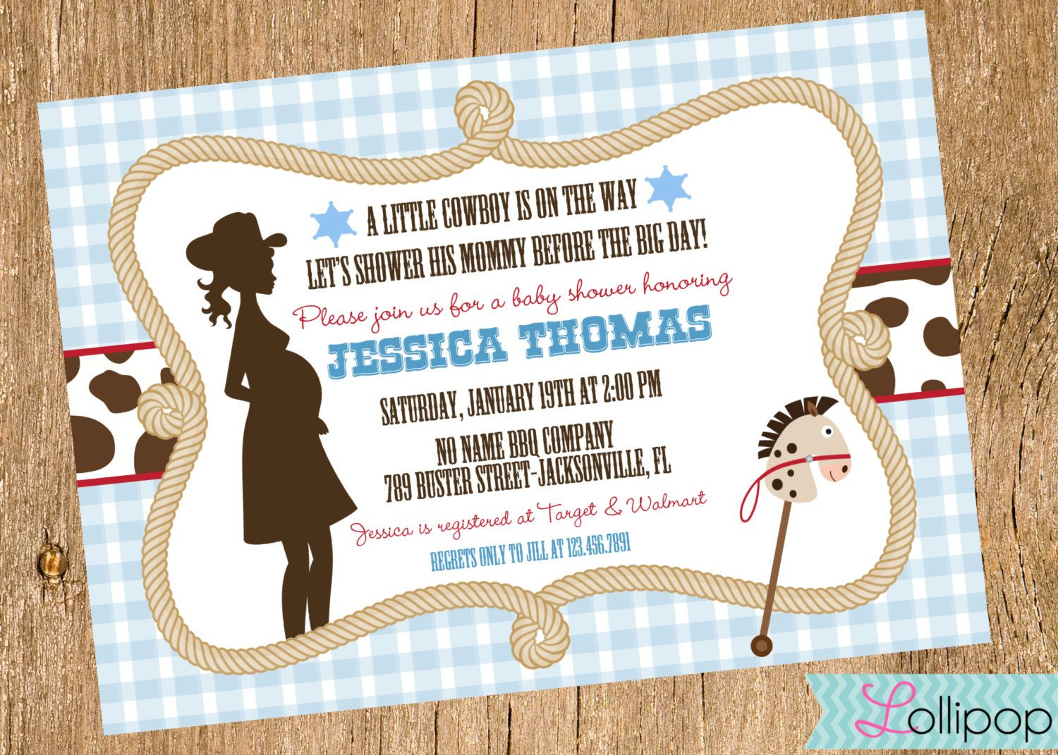 Little Cowboy Baby Shower Printable Invitation Personalized