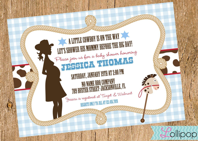 Little Cowboy Baby Shower Printable Invitation, Personalized Cowboy Baby  Shower Invite, Western Baby Shower