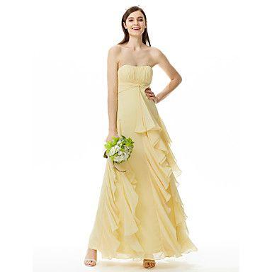 Strapless Sweetheart Floor Length Chiffon Bridesmaid Dress