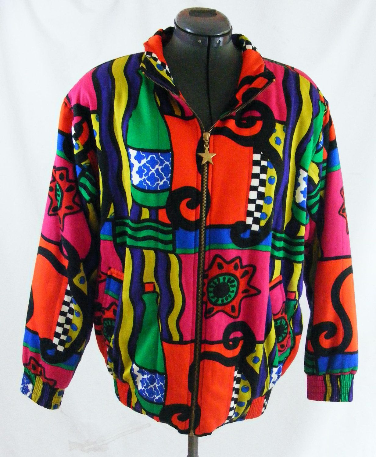 Vintage 80s Graffiti Colorful Rainbow Zip Front Bomber Jacket Coat L mZ0nMjGIH