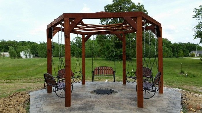 How To Build A Hexagonal Swing With Sunken Fire Pit With Images