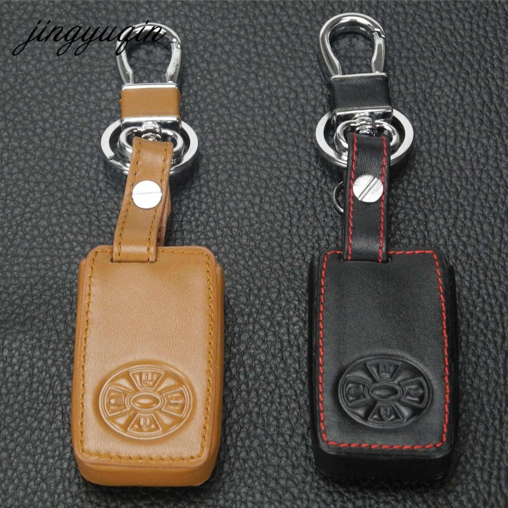 Jingyuqin 4btn Leather Car Key Cover For Toyota Premio Avalon Camry Old Smart Keyless Case Wallet Keychain