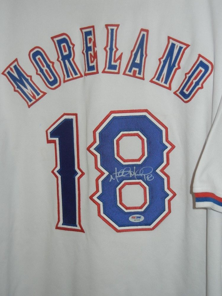 official photos d3d05 fd8f7 Mitch Moreland Texas Rangers Autographed Jersey PSA DNA ...
