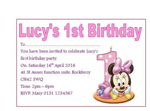 Minnie Mouse 1st Birthday invites wwwdorasgiftsuk - invitation card for ist birthday