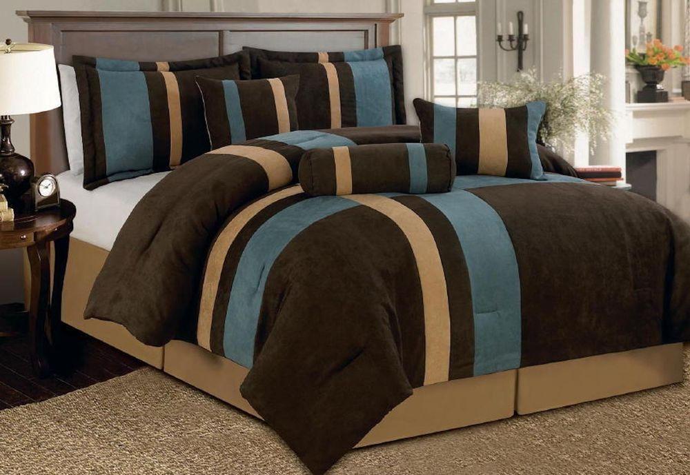 7 Pcs Comforter Bedding Set Micro Suede Blue Brown Beige King