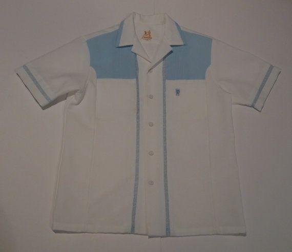 35c1bab5 Hawaiian Shirt Iolani Executive Tiki Wear Aloha Luau Lace Baby Blue  Honolulu Hawaii Five 0 Jack Lord Polyester Short Sleeves Moai Islander