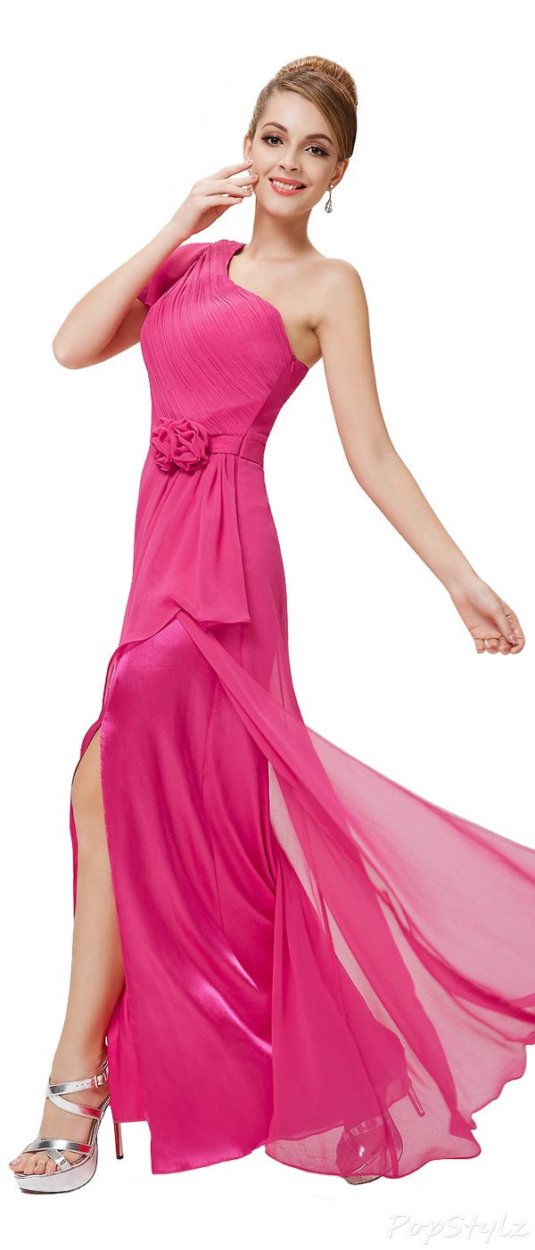 Hot Pink Long Chiffon Party Dress | Clothes | Pinterest | Brillo ...
