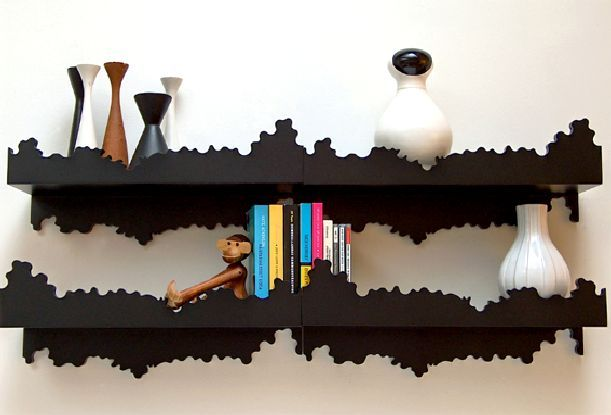 cool shelves. maybe you could do this with regular shelves and some clever painting?
