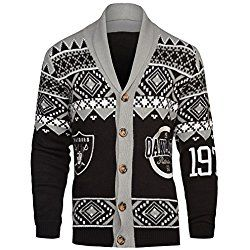 Nfl Oakland Raiders Mens Ugly Cardigan Sweater X Large Black