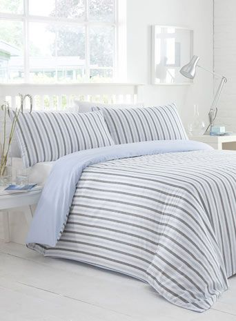 Blue Herringbone Stripe Printed Bedding Set Great Pictures