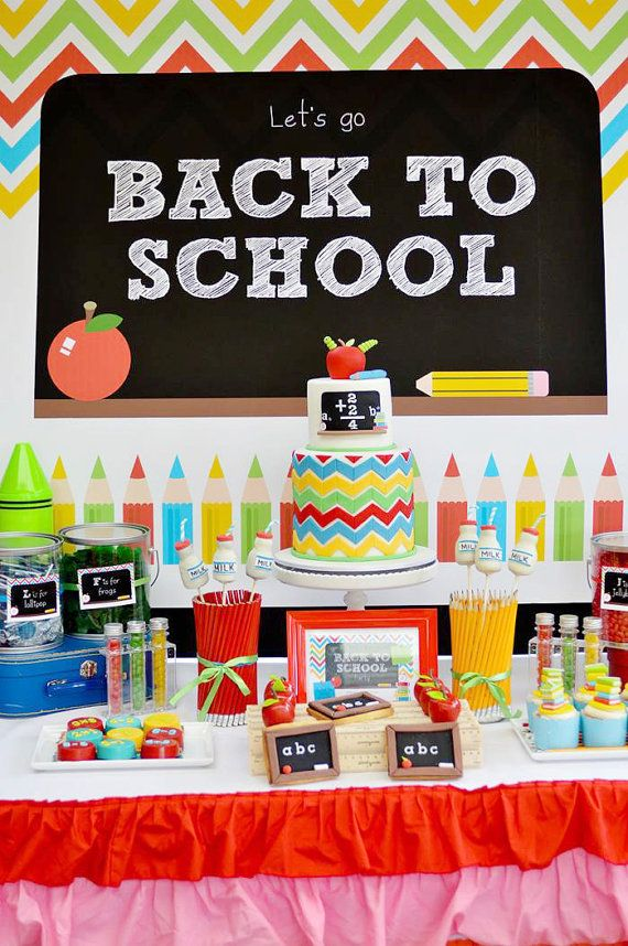 back to school party printable set includes backdrop food tents
