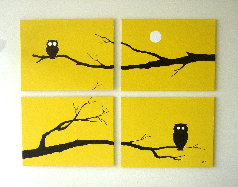 Owl Paintings, Yellow Black White, 18 x 24 (Set of 4), Modern Wall ...